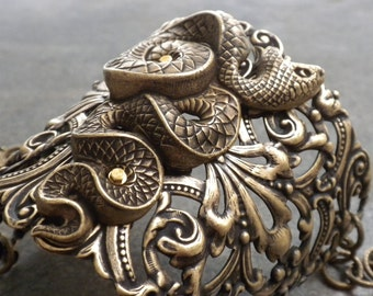 Statement Cuff Snake Bracelet Brass Egyptian Revival Handmade Jewelry