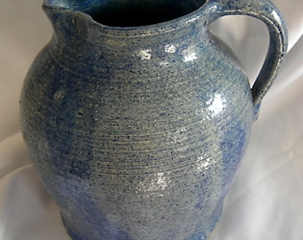 Blue Hand Thrown Art Pottery Pitcher - Unsigned - Vintage