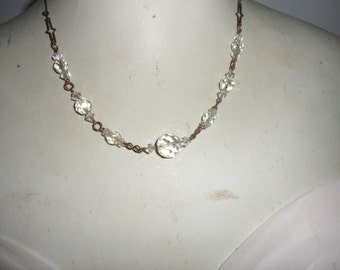 Authentic Vintage 1920's Crystal With Beautiful Links Gold Necklace