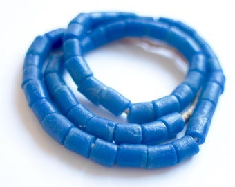 Blue Powder glass beads, African glass, Ghanaian beads, Krobo beads, Recycled glass, African beads, Tribal jewelry supply, Ethnic tube bead