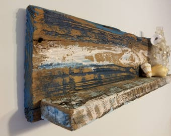 Coastal Shelf, Distressed Wood Shelf, Ocean Decor, Beach Shelf, Coastal Distressed Shelf