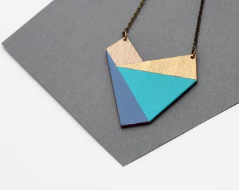 Geometric heart shape wooden nekclace - mint, blue, gold, natural wood - minimalist, modern jewelry - gif for her - modern heart jewelry