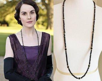 Lady Mary Crawley Swarovski Black Bead Long Gold Necklace