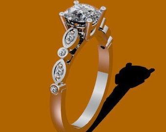 Forever One Moissanite Engagement Ring Diamond Engagement Ring 14K White Gold Bridal Ring Wedding Ring Anniversary Diamond Promise - V1024