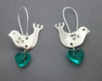 Bird earrings, silver bird earrings, cuckoo earrings, love bird earrings, mothers day present