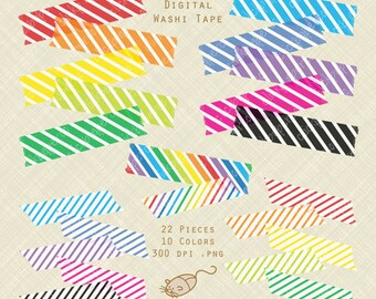Stripes Digital Washi Tape clipart rainbow colors SALE clip art png instant download commercial use For Scrapbook, Invitations, Crafts diy