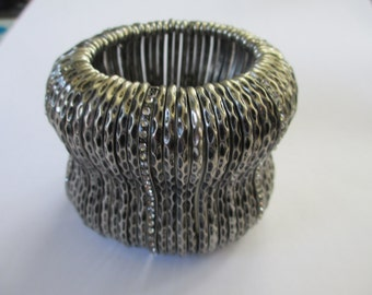 Vintage stretch bangle cuff  with rhinestones silver tone   used no markings