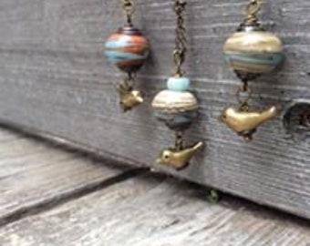 CUTE Bird pendant with handmade lampwork bead
