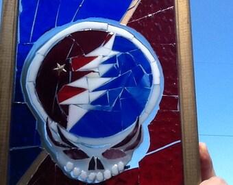 Grateful Dead Stained Glass Mosaic Window Art Suncatcher, Jerry Garcia, Stealie