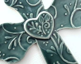 Wall Cross // Decorative Wall Cross // Teal Wall Cross // Ceramic Wall Cross with Heart,, Leaves and Vines Medium // Pottery Wall Cross