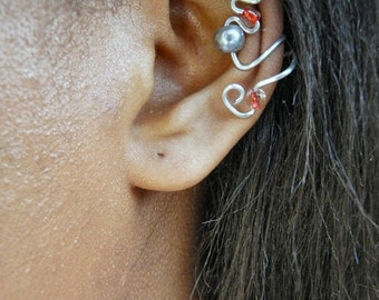 Elegant Ear Cuff (Silver, Gray, & Red)