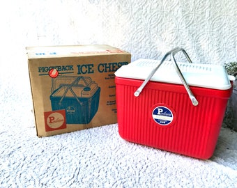 Vintage Red Poloron Cooler | Poloron Piggyback Ice Chest | Red Camping Cooler | Retro Camping Cooler | Metal Handled Cooler |