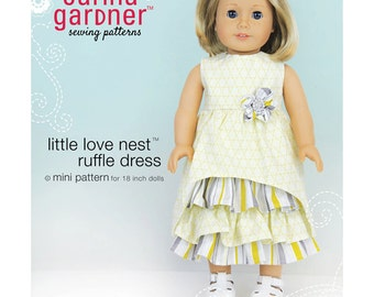"""Little  Love Nest Ruffle  Dress Sewing Pattern  for American Girl or 18"""" Doll- Carina Gardner"""