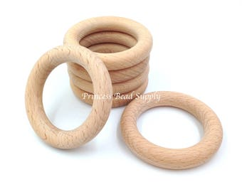 70mm Natural BEECH Wood Teething Rings,  Natural Unfinished Round Wood Teething Rings,  Natural Wooden Rings, Wood Circle Teething Ring