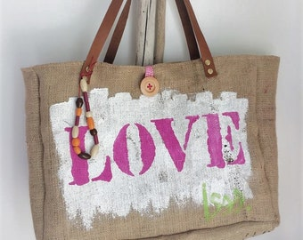 Pink heart Love tote bag, burlap and lime green fabric