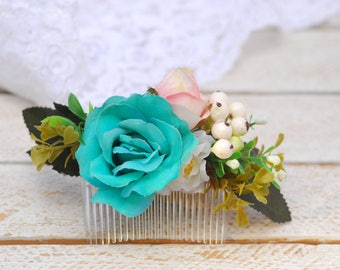Turquoise Pink boho flower comb Hairstyle Flower accessories Hair comb Bridal Bridesmaid headpiece Rustic hair Beach Wedding Flower gift