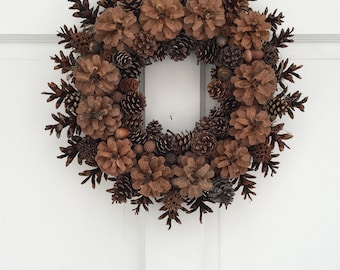 "Natural Pinecone Wreath, 17"" All Natural Wreath, Rustic Wreath, Woodland Wreath, All Season Wreath, Woodland Décor, Wall Décor, Unique Gift"
