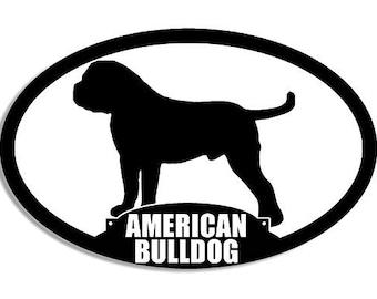 Oval American Bulldog Silhouette Sticker (Dog Breed)