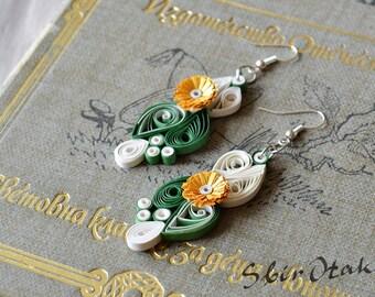 Paper Anniversary Earrings, First Anniversary Gift, Beauty  Earrings , Filigree earrings in white green gold, 1 wedding  Anniversary Her,
