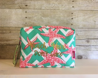 Beach Hair Don't Care Cosmetic Bag, Beach Travel Bag, Chevron Cosmetic Case, Make Up Bag, Travel Case, Luggage, Starfish, Chevron