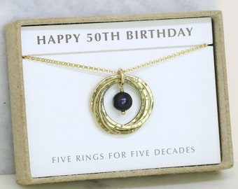 50th birthday gift, June birthstone necklace 50th, black pearl necklace for 50th birthday, gift for wife, mother - Lilia