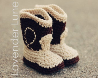 PDF CROCHET PATTERN, The Western - Cowboy Baby Booties, Baby Booties