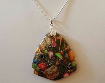 Sterling Necklace ~ Multi Colored Rainbow Copper Turquoise Pendant Necklace