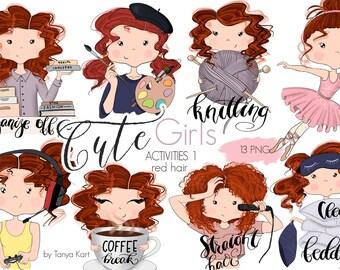 Planner Stickers Girl, Planner Girls Icons, Red Hair Girls, Painter, Knitting, Balerina, Coffee Break Stickers, Gamer Girl, Cute Girls Icons