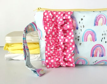 diaper and wipes clutch -- whimsical rainbow