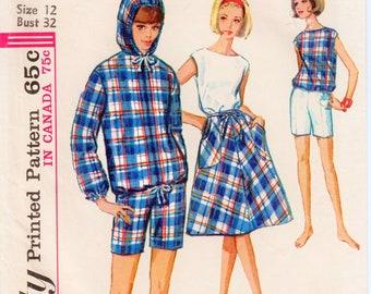 "1960s Skirt Pattern Wrap Skirt Pattern Hooded Jacket Pattern Sleeveless Blouse Vintage Shorts SIMPLICITY 5836 bust 32"" 1960s Shorts Pattern"