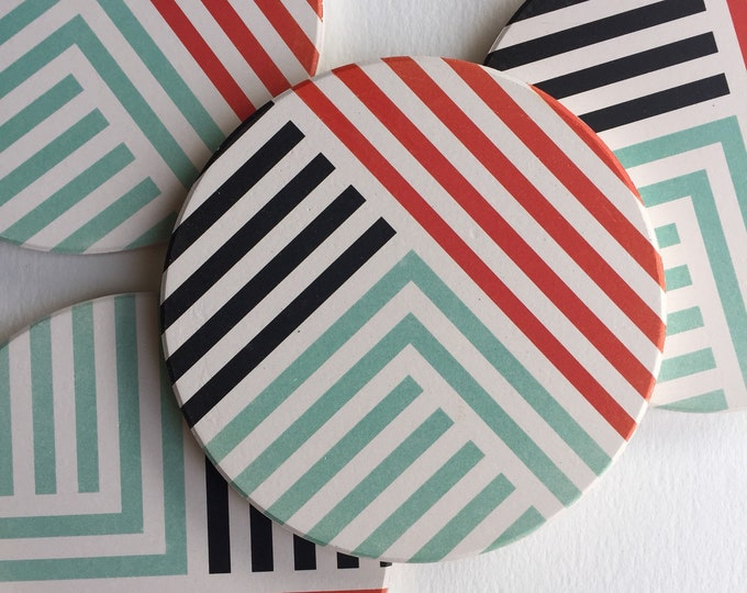 LINES absorbent ceramic coasters set of 4