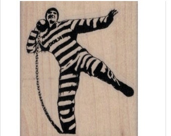 rubber stamp Banksy Convict Throwing Ball and Chain     no19972 scrapbooking supplies graffiti art artist