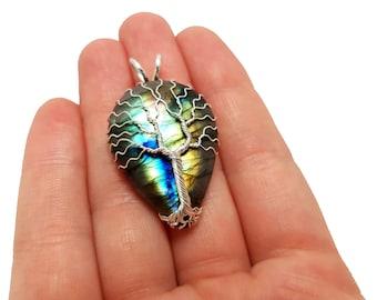 FREE SHIPPING Wire wrap tree of life pendant with genuine labradorite gemstone