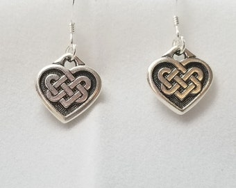 Celtic Knot Heart Dangle Earrings