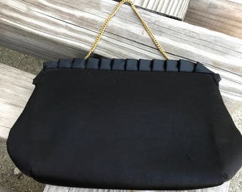 Vintage HL Harry Levine Black Satin Clutch Evening Bag