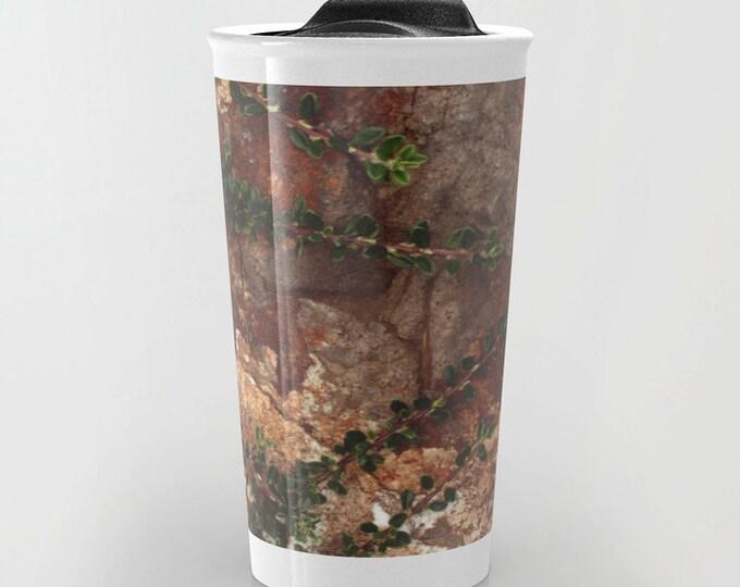 Nature Lover Travel Mug - Rocks and Leaves Photo - Brown Coffee Travel Mug - Hot or Cold Travel Mug - 12oz Travel Mug -Made to Order