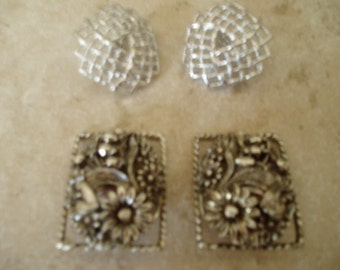 Two Pair Vintage Sarah Cov Clip On Earrings Silver Tone