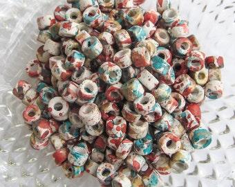 25%OFF Mykonos Greek Ceramic Mini Tube Beads Speckled Confetti 6X4mm Mykonos Beads Fall Sewing scrapbooking supplies DIY 10pcs