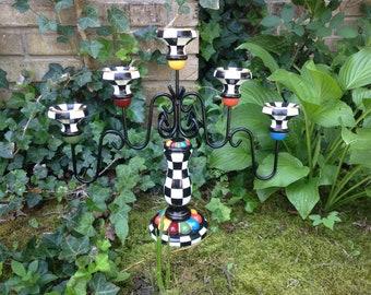Alice in Wonderland Candle Holder Black & White Whimsical Checks Hand Painted Candelabra