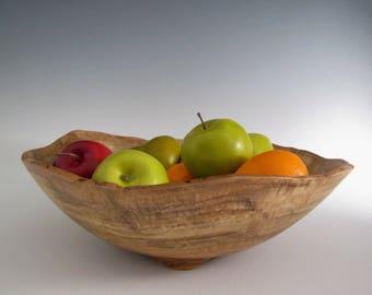 Attractive Large Oak Burl Wood Turned Bowl   Artistic Bowl   Lathe Turned Bowl   Wood  Turning