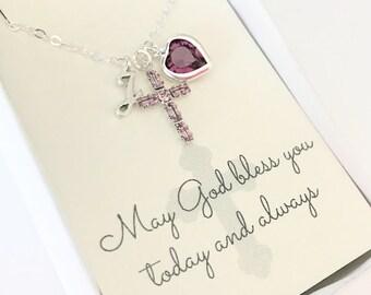 Crystal Cross Pendant - Cross Necklace - Amethyst - February - First Communion Gift - Gift for Goddaughter - Goddaughter Gift - N109