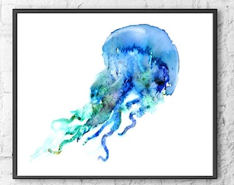 Watercolor Jellyfish print, jellyfish art, ocean art, blue nautical print, bathroom wall art, ocean theme, beach wall decor - F217