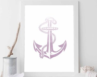 Purple Anchor, Purple Print, Nautical Print, Purple Decor, Anchor Print, Anchor Prints, Anchor Art, Beach Art, Nautical Wedding Decor