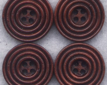 Chocolate Brown Buttons Simple Classic Wooden Buttons 18mm (3/4 inch) Set of 8 /BT282