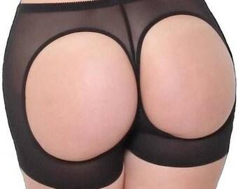 Open Bottom Butt Lifter Control Briefs Girdle Peep Hole Peek A Boo Panties Knickers Bottom Cheek Lift Black