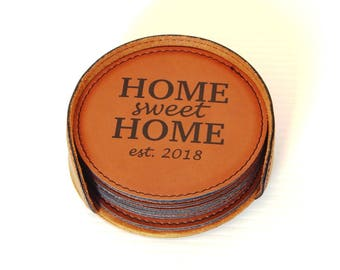 Wedding Gift for Family - Gifts for Housewarming Personalized - Home Sweet Home Coasters - New Home Gift, CAS21