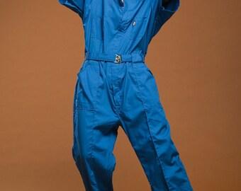 plus size vintage utility jumpsuit muted blue cotton raglan coveralls overalls mechanic suit 80s XL 1X 2X EXTRA LARGE