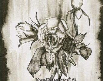 Black Roses Painting, Goth Roses Illustration, Bloody Roses Fine Art Print, Goth Art, Moody Flowers, Black and White Rose Bouquet Painting