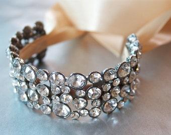 Bridal Cuff Bracelet, Crystal Bracelet, Elegant Ribbon Bracelet, Bridal Jewelry trends 2018, Ribbon Bracelet, Cuff Bracelet, Bridal Jewelry