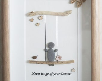 Pebble Art framed Picture - Never let go of your Dreams
